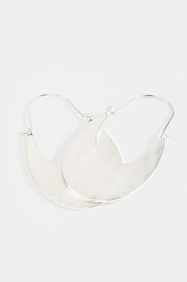 francesca's Gracie Hammered Half Moon Hoops - Silver