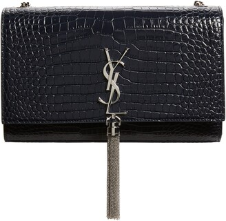 Saint Laurent Medium Kate Tassel Croc Embossed Calfskin Leather Crossbody Bag