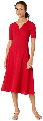 Lauren Ralph Lauren Cotton Henley Dress (Lipstick Red) Women's Clothing