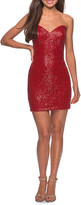 La Femme Sequin Strapless Sweetheart Short Dress