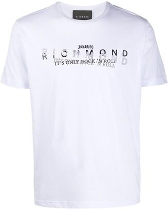 John Richmond layered logo print studded T-shirt