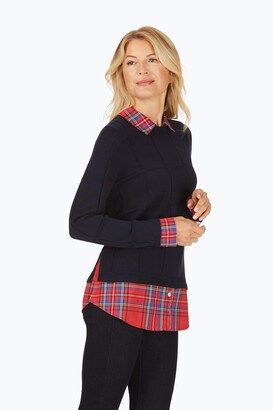 Foxcroft Women's Long Sleeve Crew Sweater with Woven Collar Cuffs and Shirttail-Hem Inset
