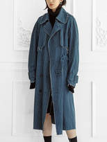 Collection Label Raw Edge Denim Trench Coat Blue