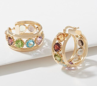 Arte D'oro Arte d' Oro Faceted Gemstone Hoop Earrings, 18K Gold