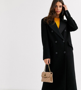 Asos Tall DESIGN Tall tux maxi coat in black