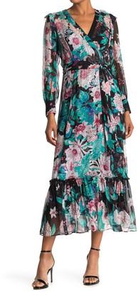 Diane von Furstenberg Linnet Silk Wrap Ruffle Hem Maxi Dress
