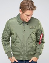 Alpha Industries CWU Bomber Jacket In Slim Fit Sage Green
