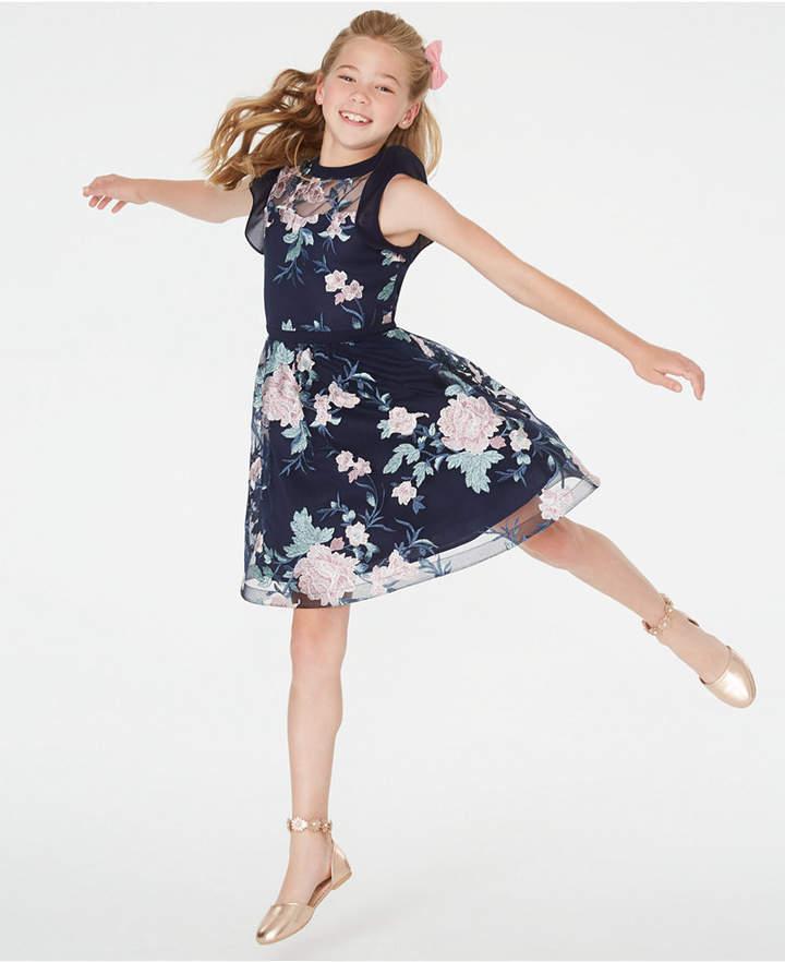8084f6052db57 Big Girls Embroidered Illusion Dress