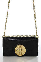 Aimee Kestenberg Black Leather Arrow Turn Lock Chain Strap Wallet Crossbody Hand