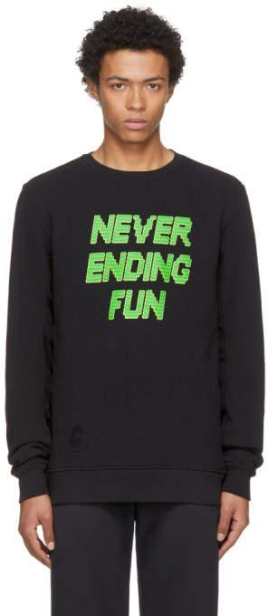 Tim Coppens Black Never Ending Fun Printed MA-1 Crew Sweatshirt