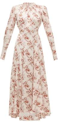 Paco Rabanne Crystal-button Floral-print Satin Maxi Dress - Womens - Light Pink