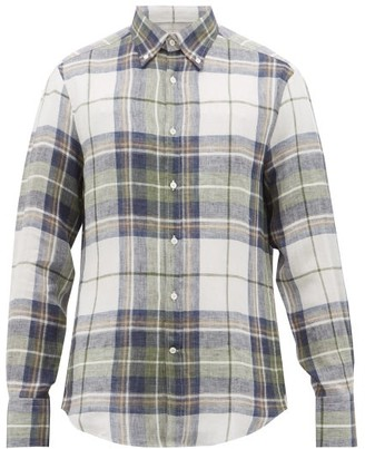Brunello Cucinelli Checked Slubbed-linen Shirt - Green Multi