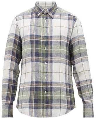 Brunello Cucinelli Checked Slubbed-linen Shirt - Mens - Green Multi