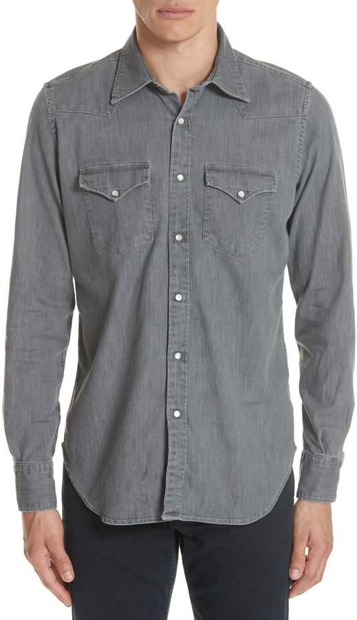 Eleventy Slim Fit Denim Western Shirt