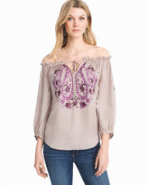White House Black Market Off-the-Shoulder Embroidered Top