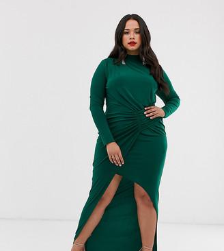 Club L London Plus high neck long sleeve split thigh maxi dress