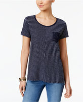 Style&Co. Style & Co Striped Crochet-Pocket Top, Created for Macy's