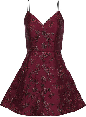 Alice + Olivia Anette Pleated Metallic Floral-jacquard Mini Dress