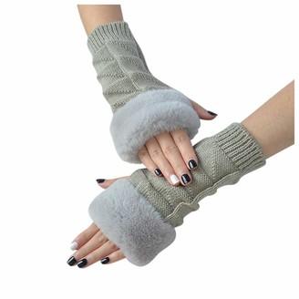 Skag Skang Women Solid Color Frayed Warm Typing Elastic Half-Finger Gloves Triangular Knitted Artificial Plush Gloves