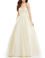 Glamour by Terani Couture Strapless Sweetheart Neck Faux-Pearl Beaded Ball Gown