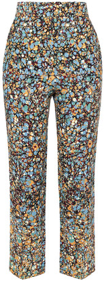 Victoria Beckham Cropped Printed Crepe Straight-leg Pants
