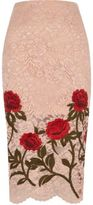 River Island Womens Light pink lace floral embroidered pencil ski