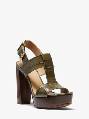 MICHAEL Michael Kors Becker Crocodile-Embossed Leather Platform Sandal