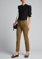 Frame Shirred-Sleeve Button-Up Silk Shirt
