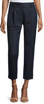 Milly Edie Tapered Gabardine Ankle Pants, Navy