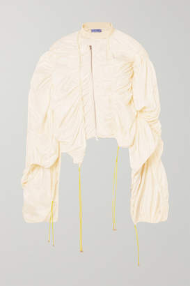 Thierry Mugler Raffia-trimmed Ruched Ripstop Top - Off-white