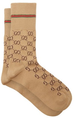 Gucci GG Supreme-intarsia Cotton-blend Socks - Camel