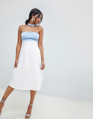 Asos DESIGN color block choker prom dress