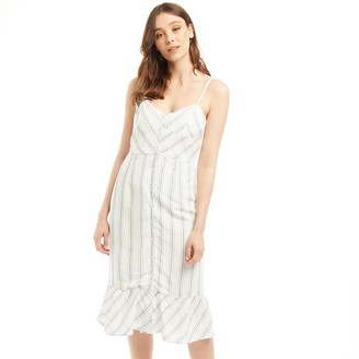 Jack Wills Womens Fernheath Button Stripe Midi Dress Blue