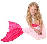 Mermaid Tail Blanket - Super Soft & Warm Polar Fleece Fabric Blanket by Cuddly Blankets. Perfect Gift for Kids and Teens (Ages 3-12) (Hot Pink & Light Pink)