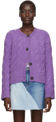 Sjyp Purple Cable Knit Cardigan