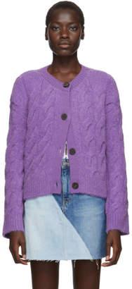 Sjyp Purple Cable Knit Cardigan