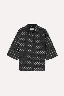Balenciaga Vareuse Oversized Printed Cotton-poplin Shirt - Black