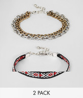 Asos Geo-Tribal And Chain Bracelet Pack