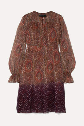 Etro Degrade Paisley-print Fil Coupe Silk-blend Chiffon Dress - Copper