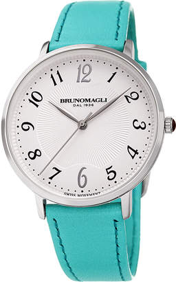 Bruno Magli 36mm Roma 1221 Leather Watch, Turquoise/Steel
