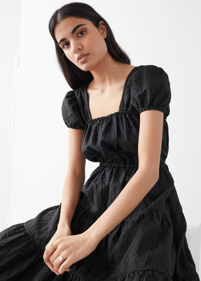 And other stories A-Line Jacquard Ruffle Midi Dress