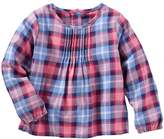 Osh Kosh Toddler Girl Pleated Plaid Woven Top