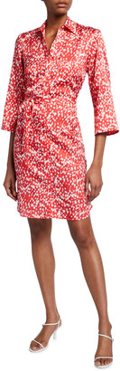 Finley Alex Raindrop Print 3/4-Sleeve Shirtdress w/ Self-Belt