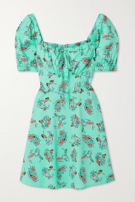 HVN Holland Printed Cotton-blend Poplin Mini Dress - Mint