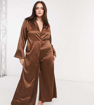 Verona Curve jumpsuit with wrap front detail in chocolate