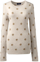 Lands' End Women's Petite Cashmere Intarsia Tee Sweater-Spice Brown