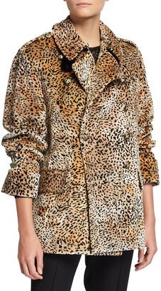 Etro Cheetah-Print Velvet Pea Coat