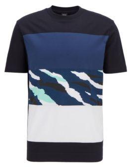HUGO BOSS Color Block T Shirt In Cotton With Animal Print Panel - Dark Blue