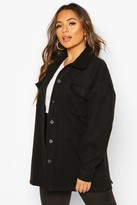 boohoo Petite Wool Look Belted Pocket Detail Jacket
