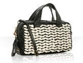 black and ivory lambskin woven top handle small bag